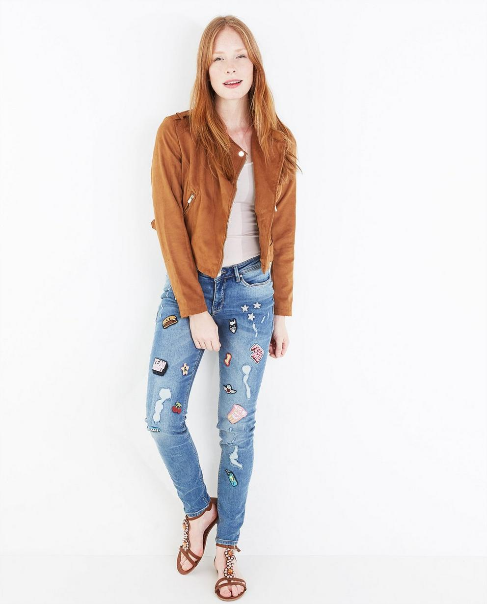 Skinny jeans met patches - null - Groggy